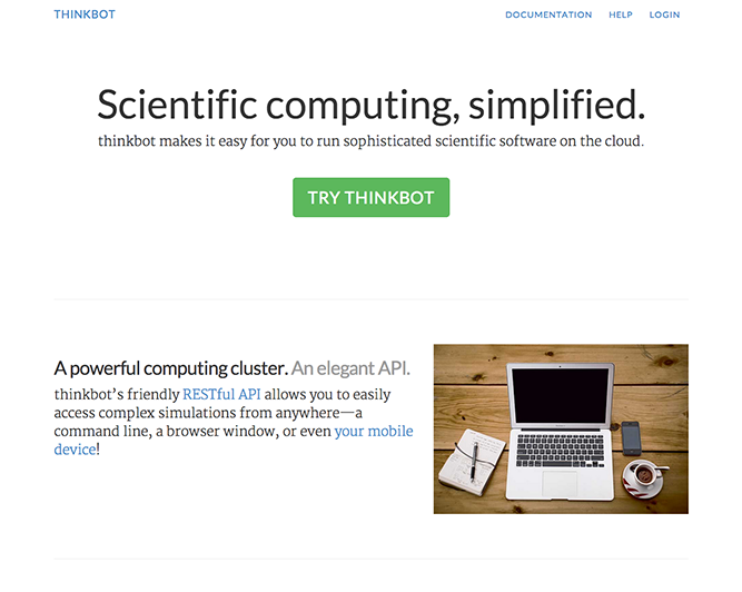 The new thinkbot home page
