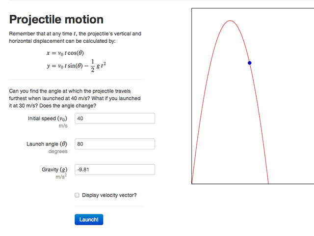 A projectile motion demo